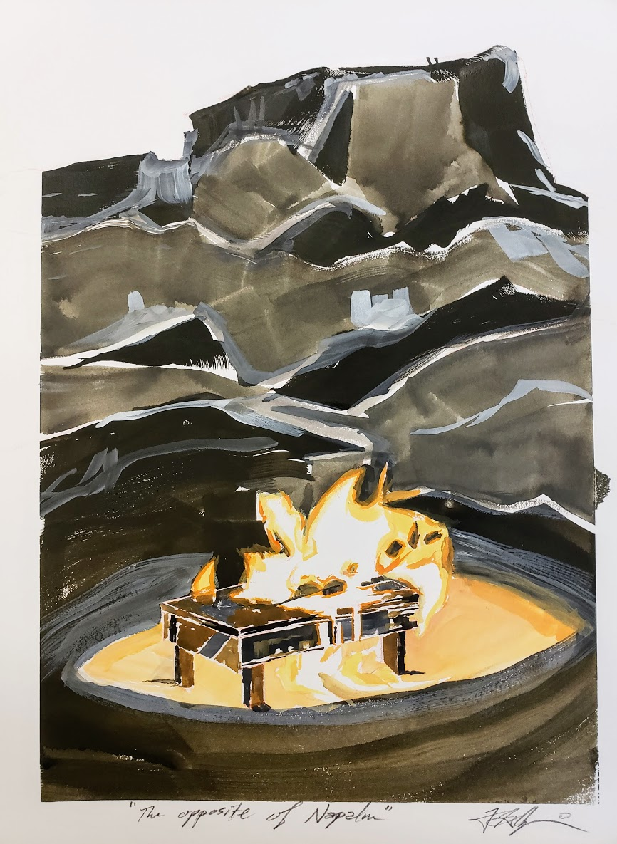 "Altar at Chimney Rock (The opposite of napalm) study- Gouache on paper, 15""x11"""