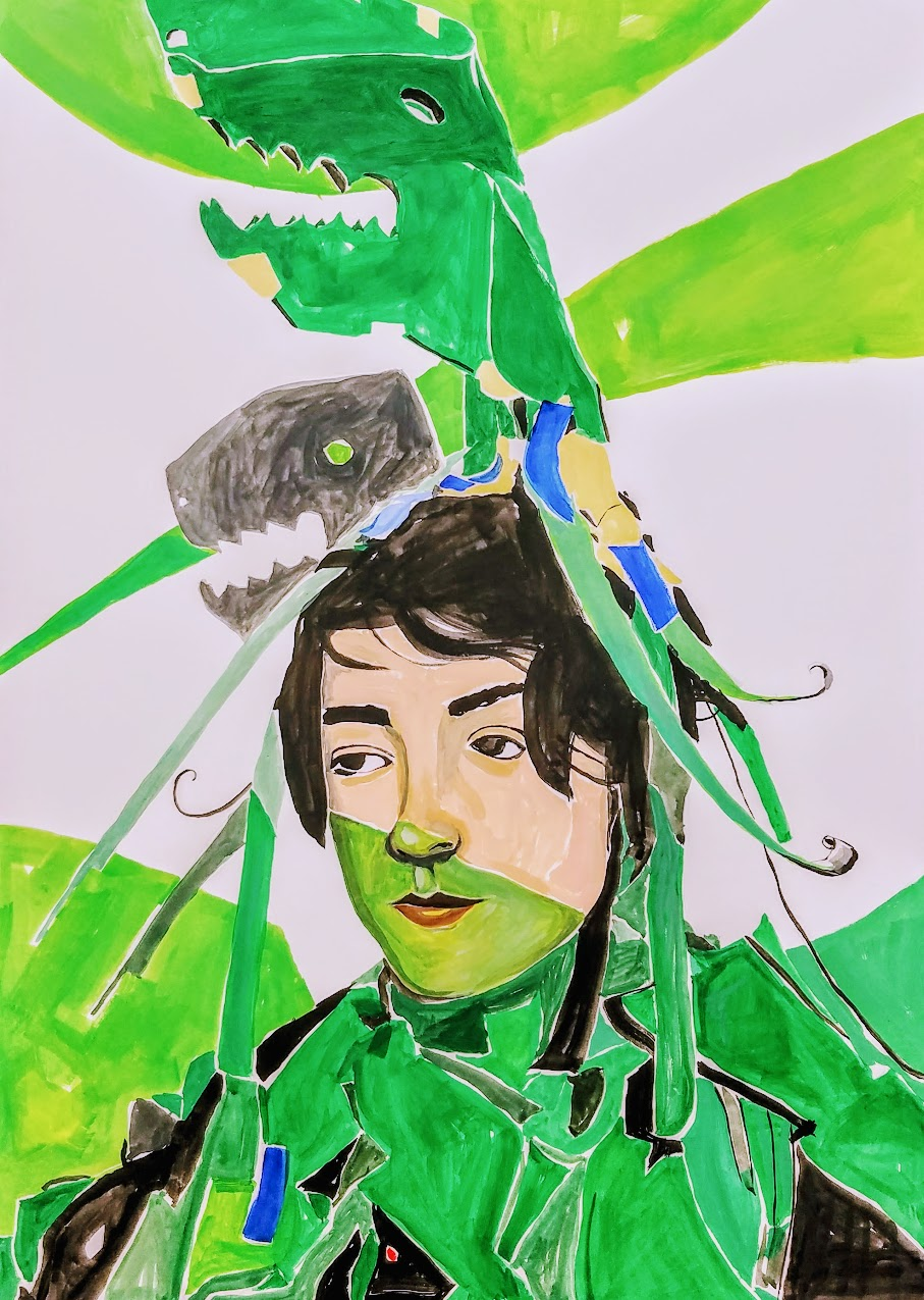 "Talia dino head. Gouache on paper, 30""x 22"""
