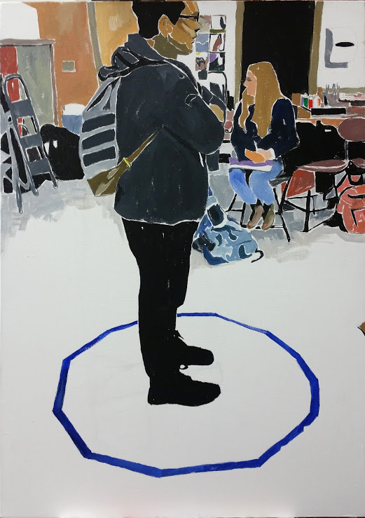 "Ty in a tape circle. Gouache on canvas, 28""x 20"""