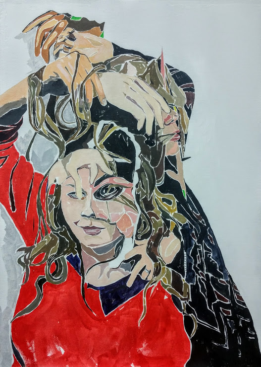 "Kayla and Tyler, hands and hair. Gouache on canvas, 28""x 20"""