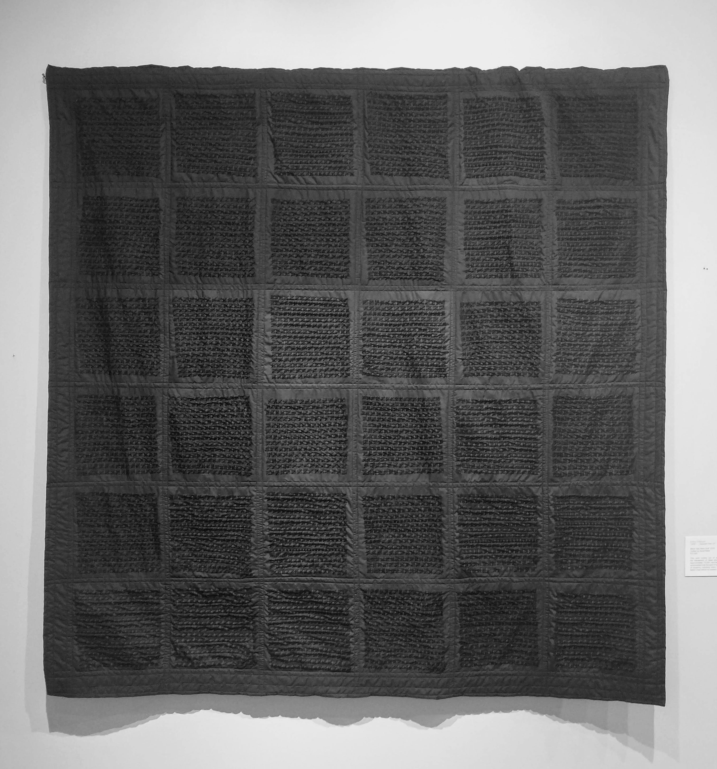 "Black tally mark quilt. Crochet thread on muslin, approximately 75,000 hand stitched tally marks. 72""x 72"""