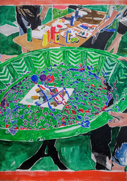 "Printmaking workshop with tennis balls and a kiddie pool. Gouache on canvas, 28""x 20"""