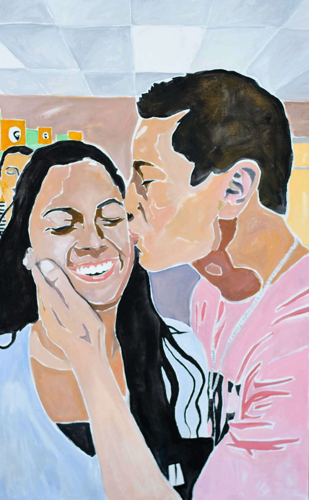"Kiss a stranger. Oil on canvas, 48""x 30"""