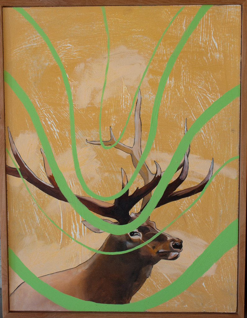 "Utah state animal under green waves 2. Oil and acrylic on panel, 36""x 24"""