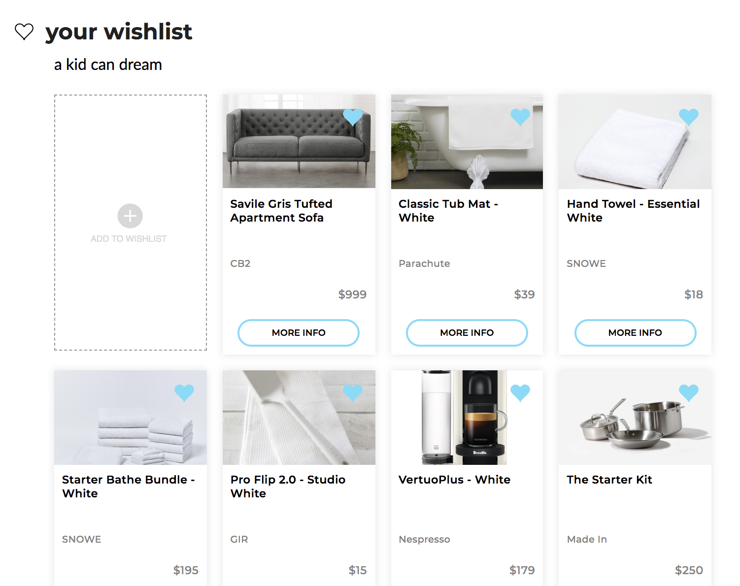 adulting, but make it fun - build a wishlist of your favorite real world products and services