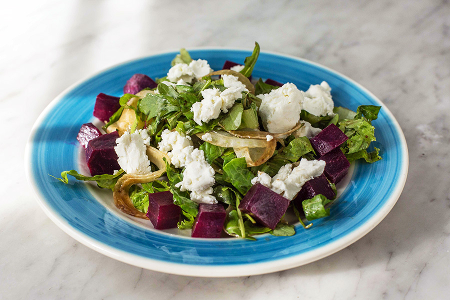 MEDITERRANEAN SALAD - Beats, arugula, lettuce, fennel, goat cheese and balsamic vinaigrette.