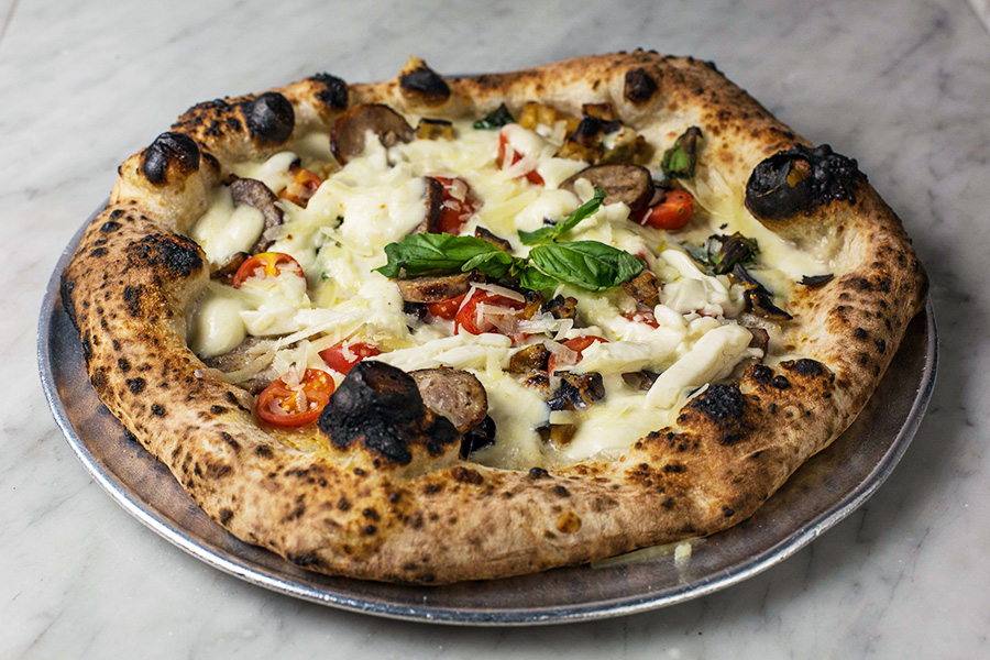 SALSICCE E MELANZANE - Smoked imported mozzarella from Napoli, deep fried eggplants, Italian sausage, cherry tomatoes, shaved caciotta, basil and extra virgin olive oil.