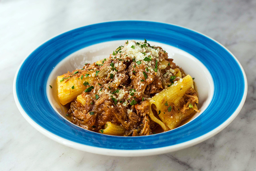PACCHERI ALLA GENOVESE - Homemade Jumbo rigatoni with slow cooked onion ragu, veal and Parmigiano reggiano
