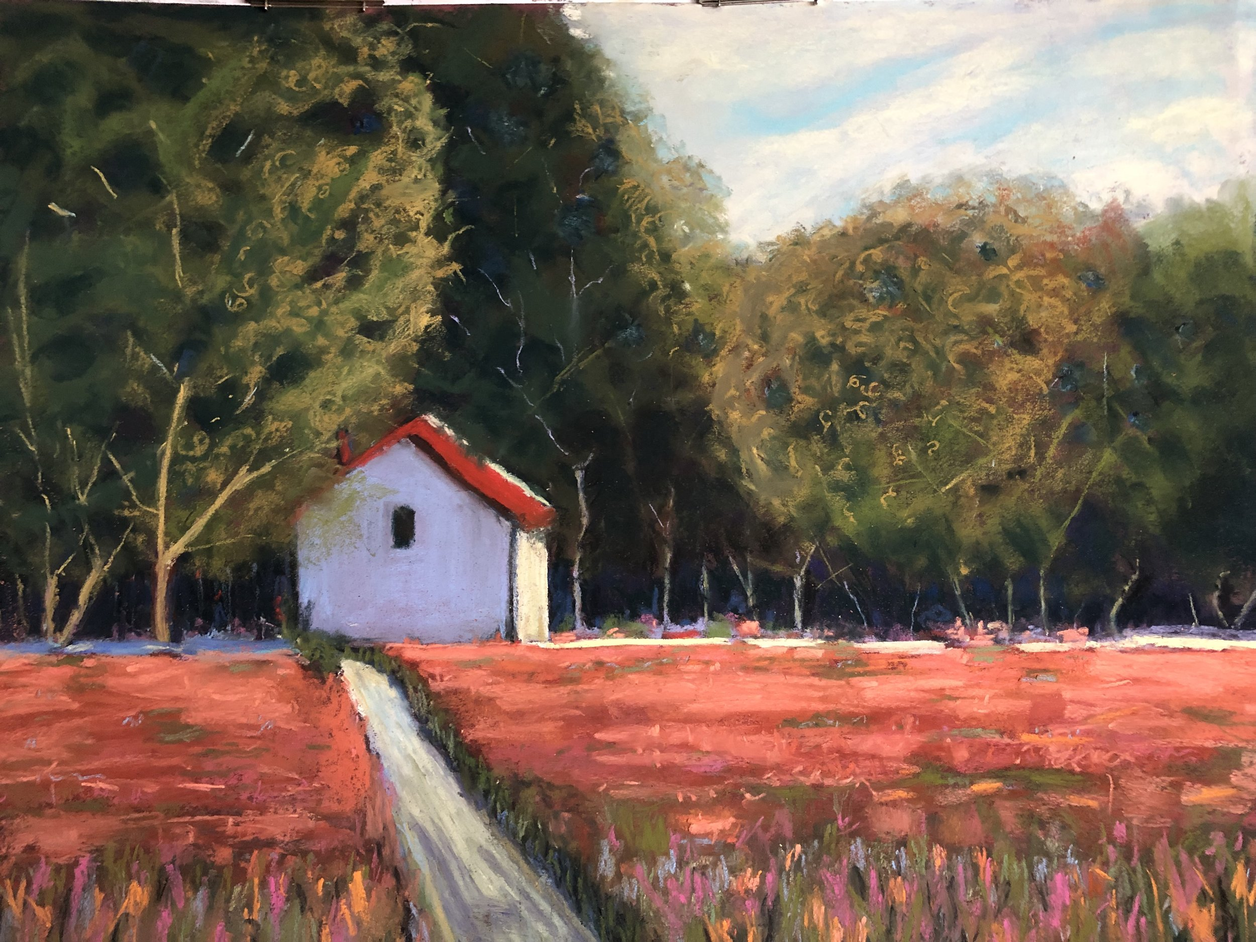 The House with the Red Roof - Medium/Materials used: Soft Pastels on Canson Mi-Teintes paper.Measurements (framed): 67cm x 81cmMeasurements (Unframed): 50cm x 65cm