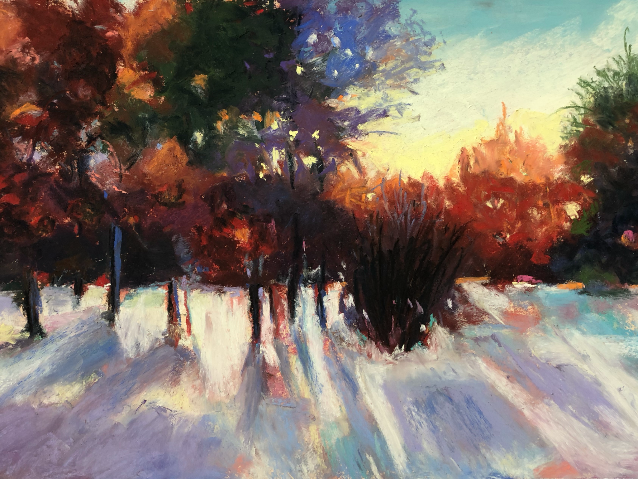 Winter Light on Snow - Medium/Materials used: Soft Pastels on Canson Mi-Teintes paper.Measurements (framed): 36cm x 48cmMeasurements (Unframed): 30cm x 42cm