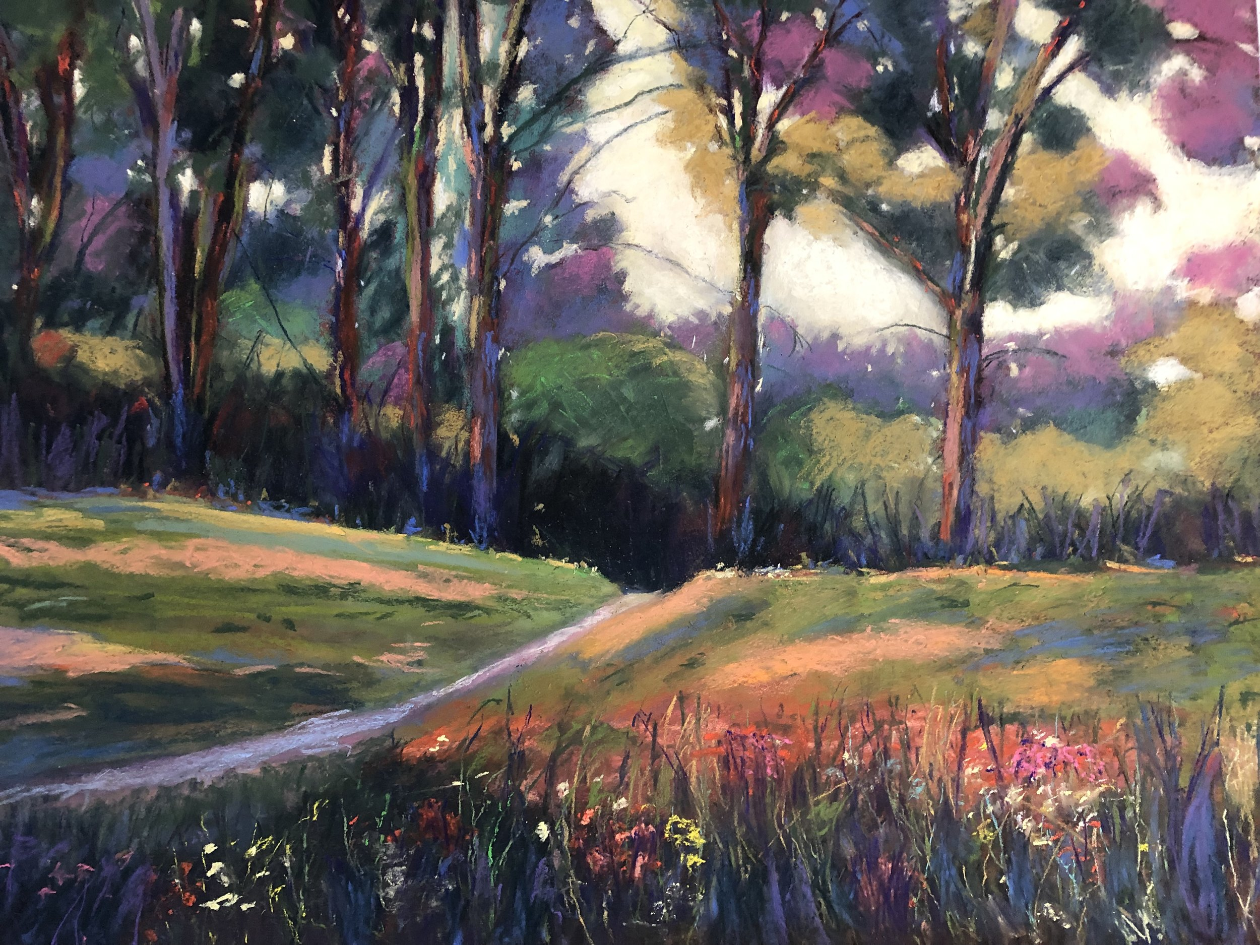 A walk in the Park - Medium/Materials used: Soft Pastels on Canson Mi-Teintes paper.Measurements (framed): 67cm x 81cmMeasurements (Unframed): 50cm x 65cm