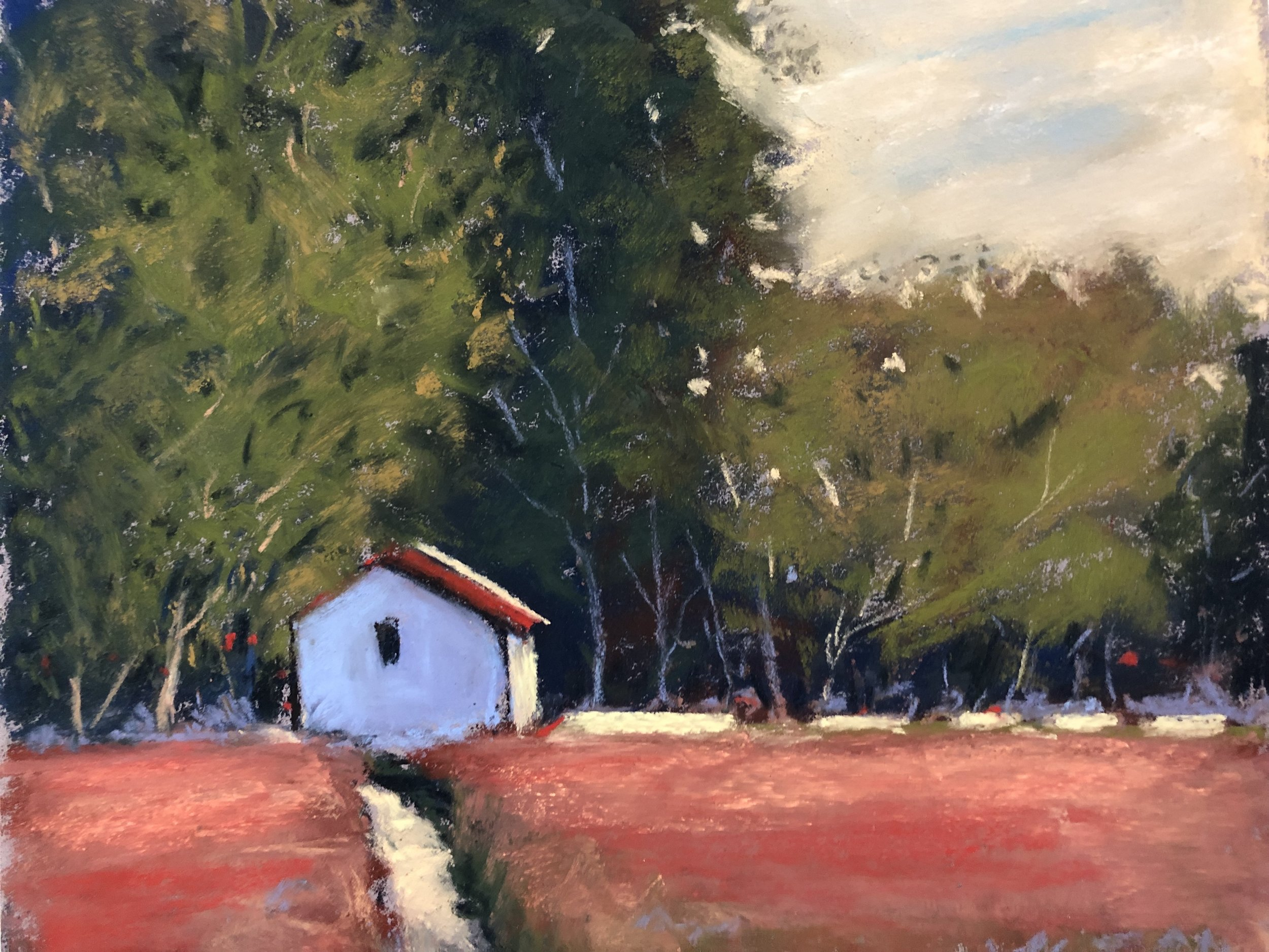 Small Red House - Medium/Materials used: Soft Pastels on Canson Mi-Teintes paper.Measurements (framed): 38cm x 41cmMeasurements (Unframed): 24cm x 27cm
