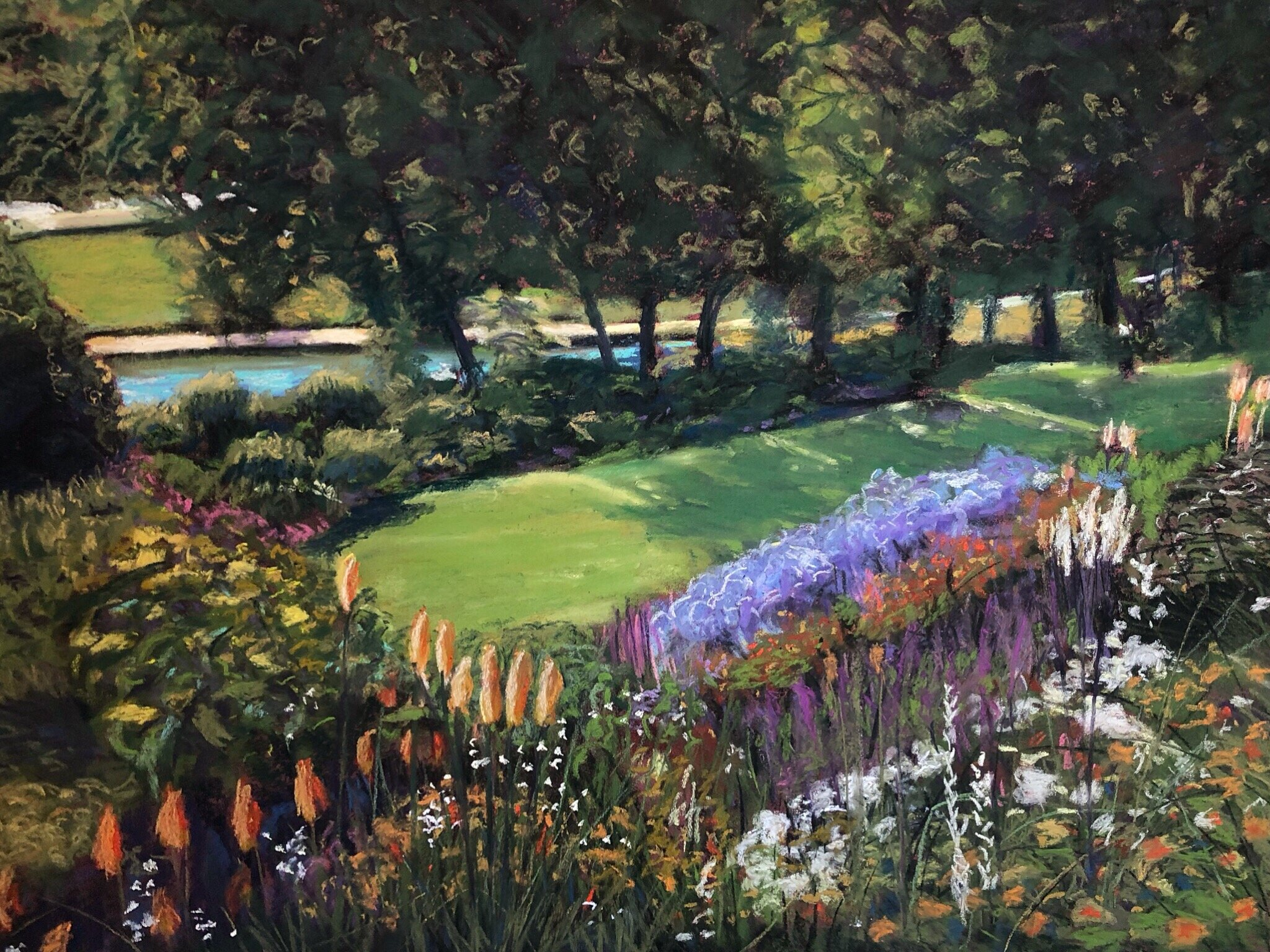 A very English Garden - SOLDMedium/Materials used: Soft Pastels on Canson Mi-Teintes paper.Measurements (framed): 67cm x 81cmMeasurements (Unframed): 50cm x 65cm