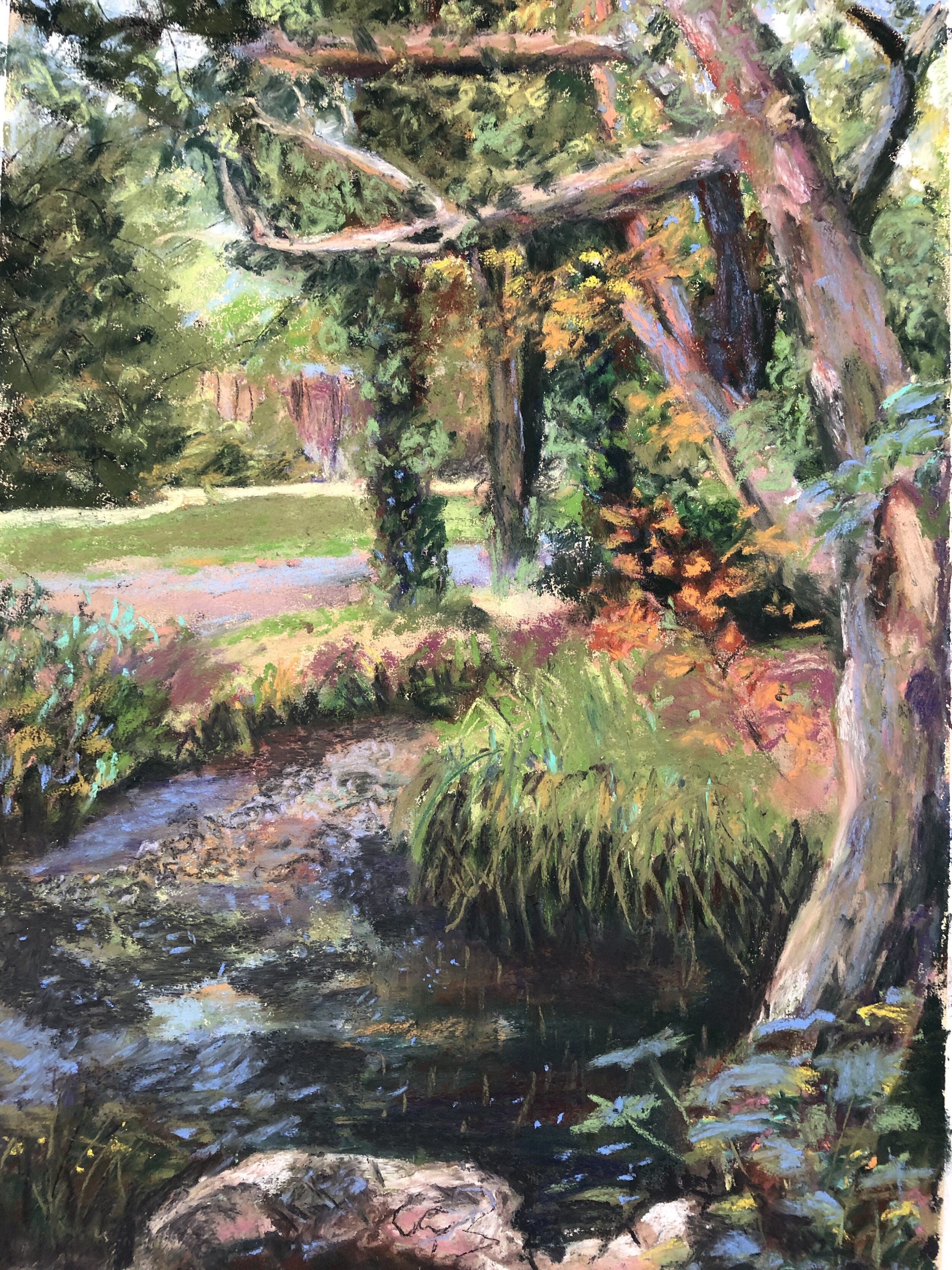 Dollis Valley Brook - NEWMedium/Materials used: Soft Pastels on Canson Mi-Teintes paper.Measurements (framed): 48cm x 36cmMeasurements (Unframed): 42cm x 30cm