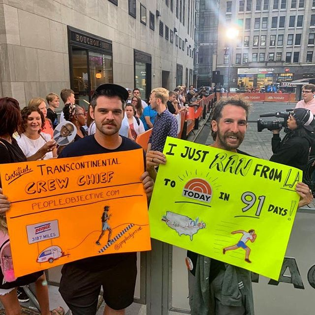 Popped by the @todayshow ✌️ to share about the #RunForPeople and answer so.many.questions about where, why, and how I ran. 🏃‍♂️😁 #todayshow #livefromnewyork #nyc #timessquare #himom #peopleobjective #transcontinental #runner #runacrossamerica #running #instarunner #runnyc @todayplaza