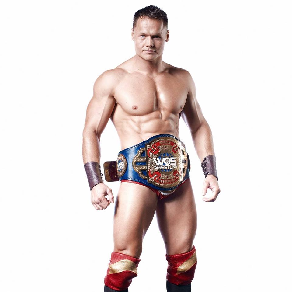 Justin Sysum is the WOS Wrestling Champion as seen on ITV.