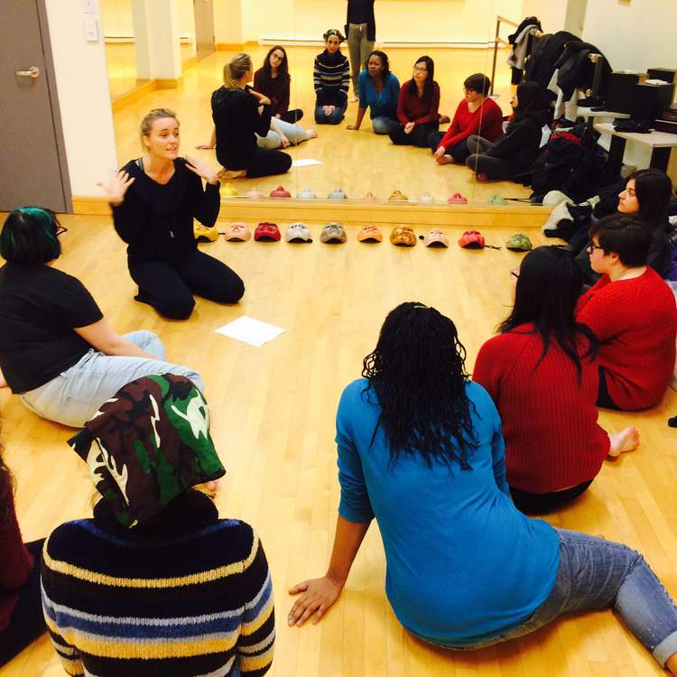 Anana Rydvald leading a mask workshop for Imago Theatre's ARTISTA program