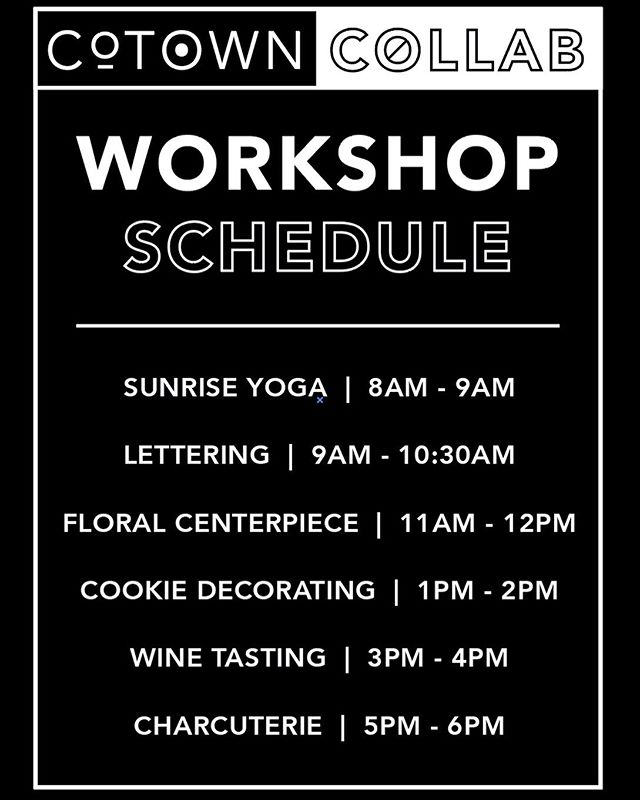 Day One is a wrap!! Thanks to all of you that came out! We can't wait to see everyone for round two tomorrow! If you're signed up or still need to sign up for our workshops, here is the schedule for tomorrow! Perfect rainy day activities! We've got shopping, workshops & a bar, what more do ya need?! 🖤⠀⠀ .⠀⠀ ⠀⠀ .⠀⠀ .⠀⠀ #wacotown #wacoisawonderland #downtownwaco #shopwaco #wacotexas #shoplocal #buylocal #supportlocal #smallbusiness #communityovercompetition #local #vendorswanted #creatives #cotowncollab  #create #sidehustle #community #connect #dowhatyoulove #collaboration #waco #wacotexas  #texas #wacotx #events #workshop