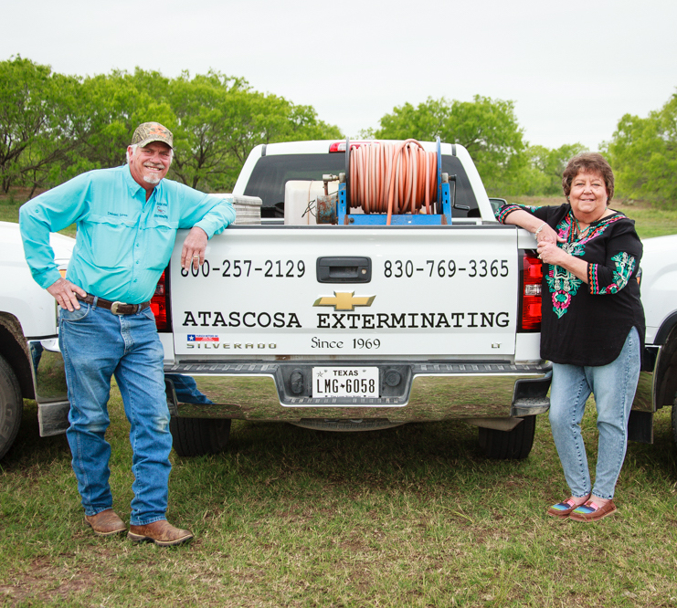 "Our Story. - Upon moving his family to Jourdanton in 1969, Dan Love, Sr., along with his wife, Marie, started Atascosa Exterminating.Dan and Marie retired in 1997, leaving their oldest son Daniel to take over the reins with his wife Lee.Atascosa Exterminating takes great pride in the fact that our business has grown from a small ""Mom and Pop"" operation to serving South Texas for 50 years, with many of our clients being customer referrals.We can service all your pest control needs, typically within 24 hours. We serve Atascosa, Frio, and McMullen counties, along with portions of Bexar, Wilson, and Medina counties. We strive to maintain a family atmosphere not only within our workforce, but also with our relationships with our customers. Providing great customer service is our number one goal.We look forward to serving you soon.Get in touch"