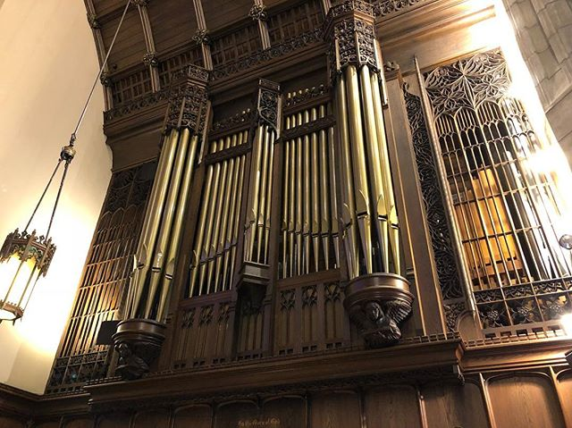 The right chancel case of the Casavant Organ at Second Church, Newton, MA. We repainted the case pipes of the chancel cases a few years ago. #casavant #tuning #pipeorgan #organ #organbuilder #refinishing #repaint #church #boston #music #newton