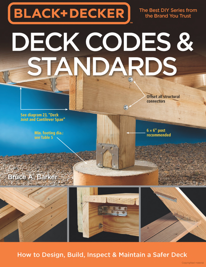 """Important certification information for dwellings with elevated decks, patios or exterior stairs: - If your dwelling has a deck, our certification is focused on ensuring it is safe. Decks can be dangerous. According to the Consumer Product Safety Commission (CSPC), an average of 120,989 people per year are injured and 54 die because of the structural failure or collapse of a deck, porch, railing, or staircase. Be sure to check out Deck Safety Expert Bruce Barker's Deck Codes and Standards Book, noting specifically on Page 10, that no deck is """"grandfathered."""""""