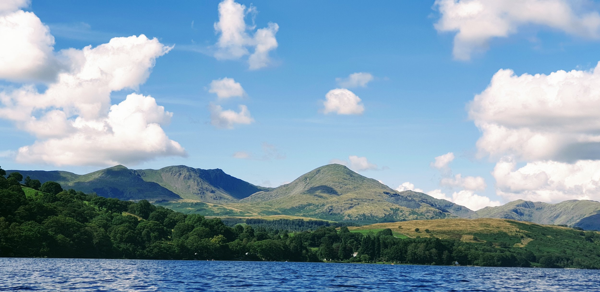 View from kayak on Coniston Water, Cumbria. Photo © 2019 by Tim Warnes
