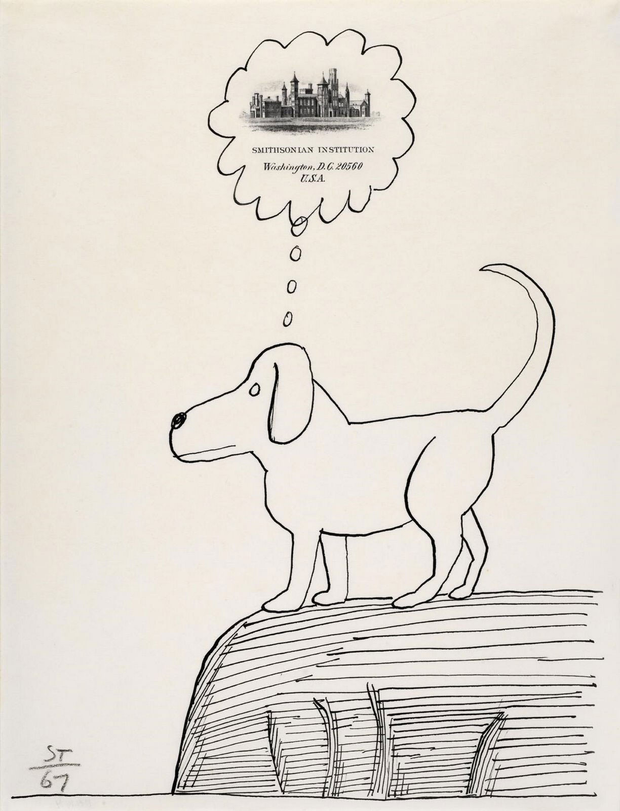 Drawing on Smithsonian Institution stationery © 1967 by The Saul Steinberg Foundation