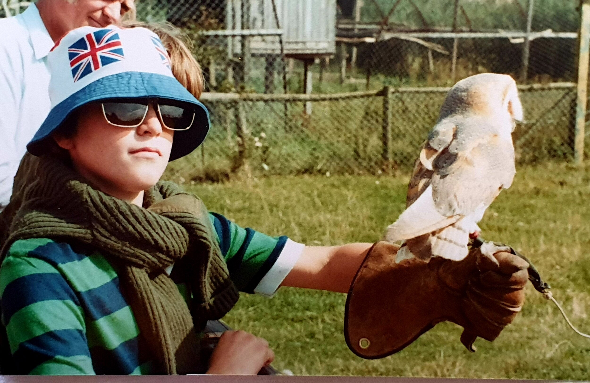 Me with a barn owl at the Hawk Conservancy, Andover circa 1982!