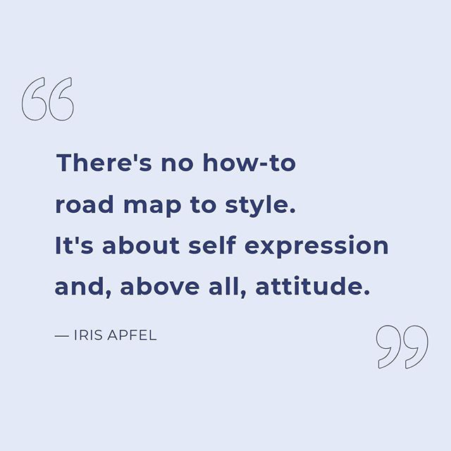 Our style inspiration for the week. ☝️✨#IrisApfel