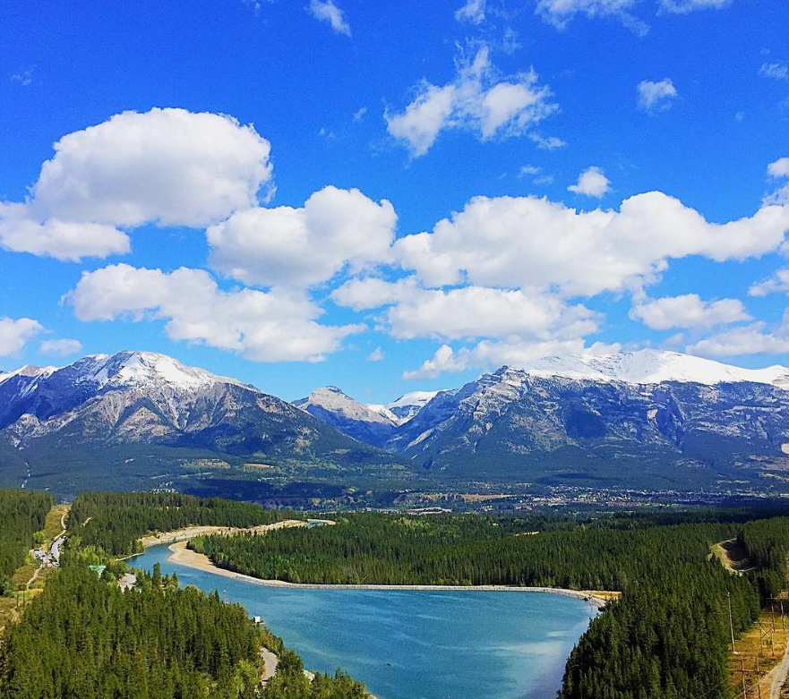 View of the Canadian Rockies and town of Canmore
