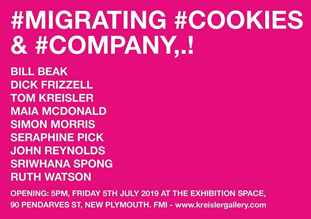 Official invitation to the opening of #MIGRATING #COOKIES & #COMPANY - 5pm Friday 5th of July @THE EXHIBITION SPACE. 90 Pendarves Street, New Plymouth #newzealand #art #now #taranaki #theexhibitionspace #kreislergallery #haeremai #whanau #working #together #community #newplymouth  #yes #please