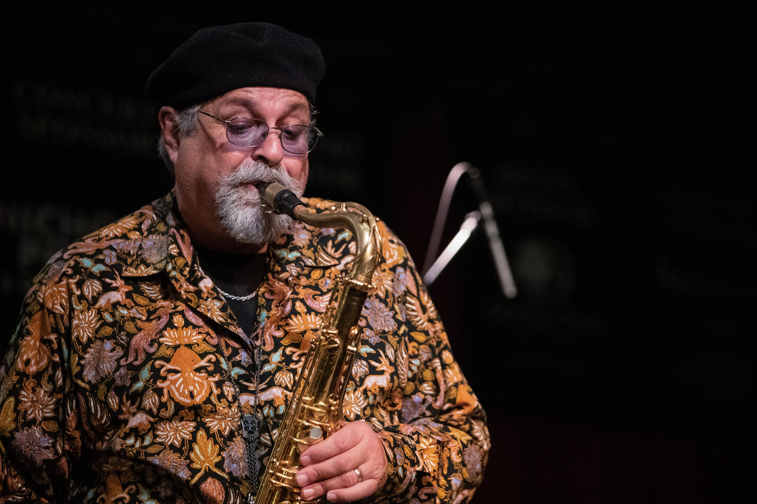 Joe Lovano performs Trio Tapestry at Outpost Performance Space with Marilyn Crispel and Carmen Castaldi.