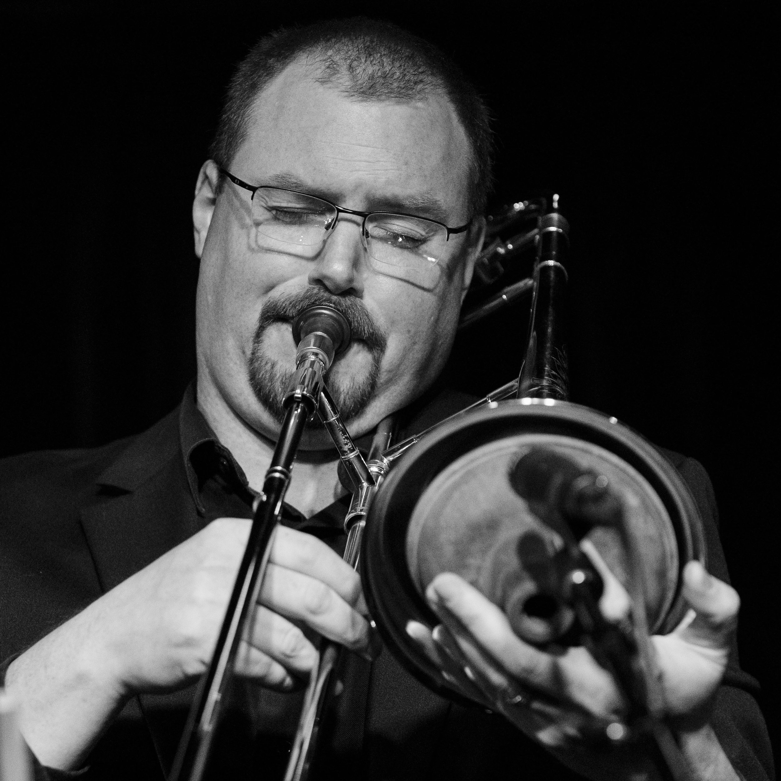 Matt Lennex on trombone with The Giants of Jazz at The Nash Jazz Club.