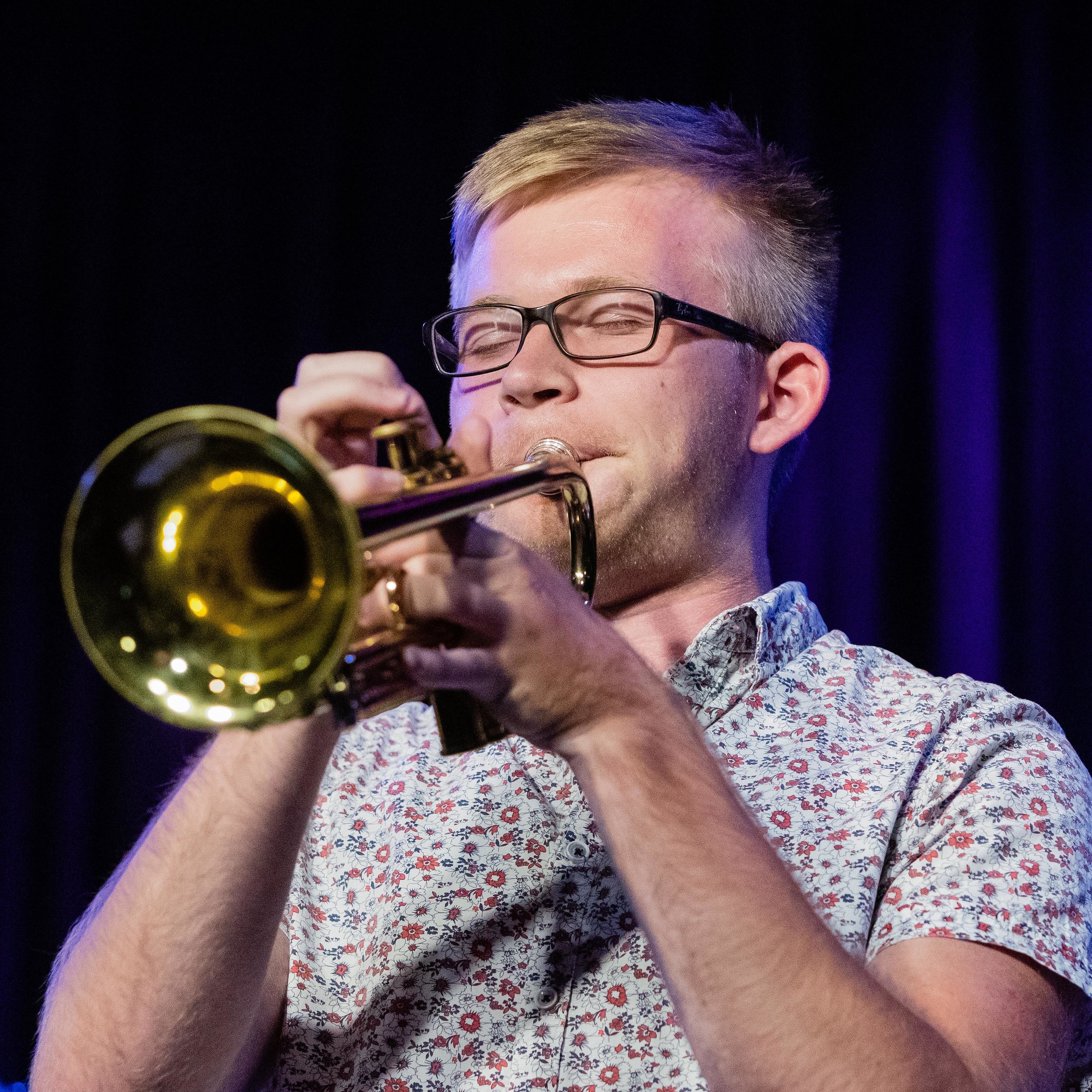Liam Connor on trumpet with Running From Bears at The Nash Jazz Club.