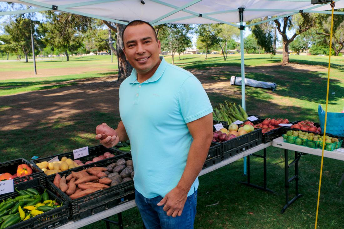 Phoenix Councilman Daniel Valenzuela at the Maryvale El Oso Park Farmers Market