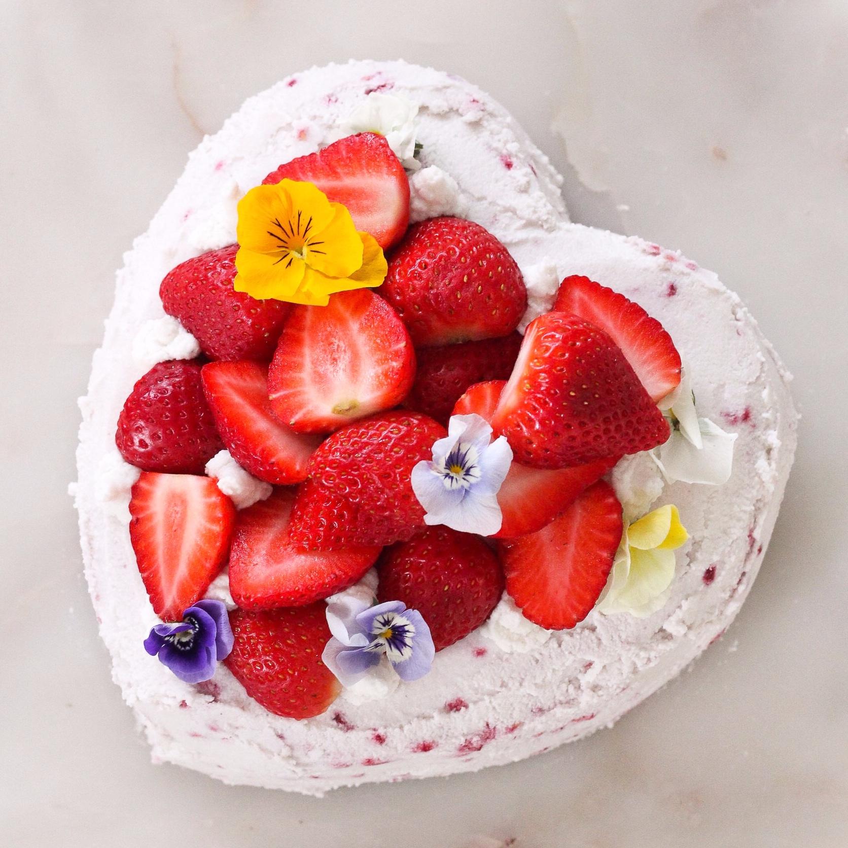 Strawberry Shortcake. Fluffy macadamia crust. Macadamia coconut yoghurt cream. Young coconut meat frosting.