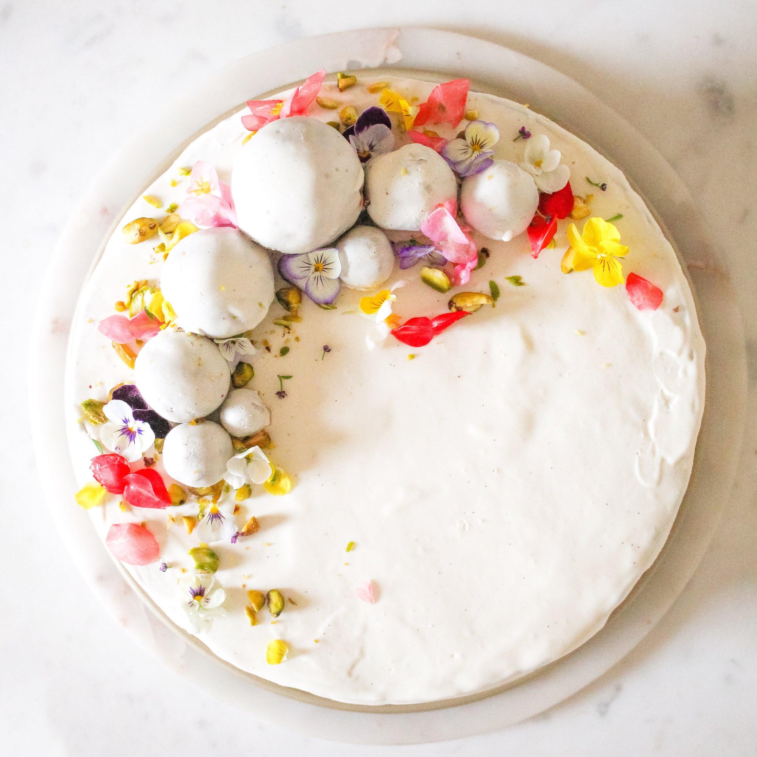 Pistachio Ice Cream Cake. Crumbly chocolate crust. Pistachio young coconut cream. Coconut butter glaze.