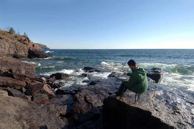 Sketching on the North Shore of Lake Superior