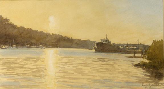 """Lake Union, Seattle  8x14"""" watercolor"""