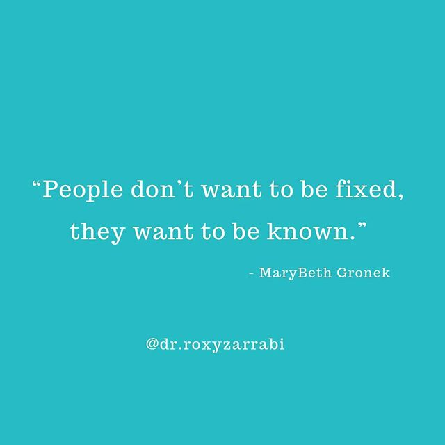 """My lovely friend @marybethgronek has a great way with words and the way she framed this truly resonated with me. When people are struggling it's tempting to jump in and problem solve, especially when we feel powerless to help. However, what people often need most in those moments is to be truly seen as well as heard and to have someone sit with them in their pain, rather than try to erase it. Trust that when someone wants guidance or advice, they will let you know. A simple """"I'm here with you"""" to a person who is struggling can be incredibly powerful.⠀ ⠀ ⠀ ⠀ ⠀ ⠀ ⠀ #wewanttobeknown #beingseen #beingheard #validation #beingseenandheard #support #seenandheard #healing #yourenotalone #lessfixingmoreknowing #supportingoverfixing #activelistening #imherewithyou #psychologistsofinstagram #psychologist #growth #tuesdaytips #tuesdayinsights #mindfulmindset #selflove#wordsofwisdom #qotd  #relationships #helpandsupport #caringconversation #mentalhealthtips #compassion #chicagopsychologist #drroxyzarrabi⠀ ⠀"""