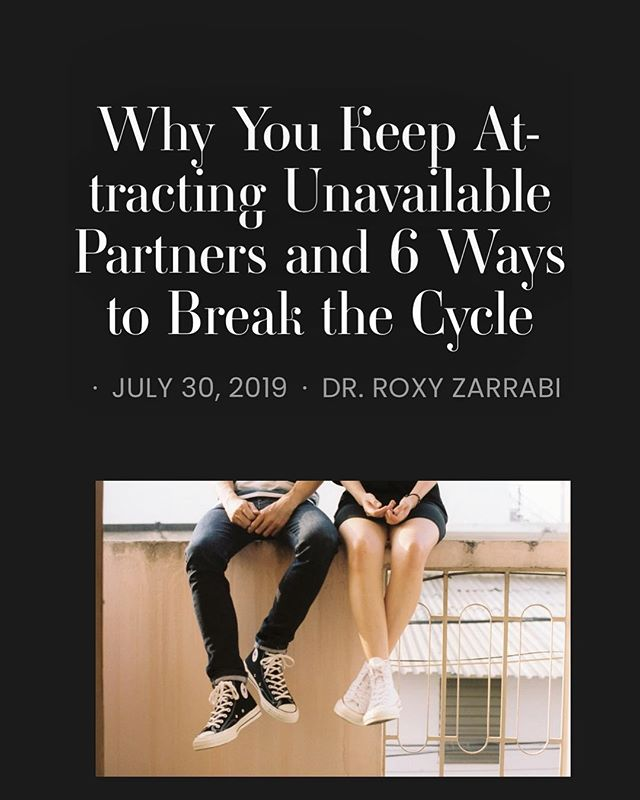 It can be quite a frustrating experience to consciously want a lasting relationship but to keep getting a different result. If you keep attracting unavailable partners and aren't sure what to do, check out my article on @probwithdating for valuable tips on how to break the cycle by clicking the link in my bio. . . . . . . . #theproblemwithdating #embraceyourworth #psychologistsofinstagram #tuesdaytips #getunstuck #healing #relationships #mindfuldating #consciousdating #empowereddating #datingandmating #relationshippatterns #dating #breakthecycle #breakthepattern #datingpatterns #emotionallyunavailable #attachmentstyles #subconciousattraction #chicagopsychologist #attachmentpatterns #attachment #werepeatwhatwedontrepair #repetitiverelationshippatterns #datingdilemma #redflags #datingtips #avoidingcommitment #lovelessons  #drroxyzarrabi