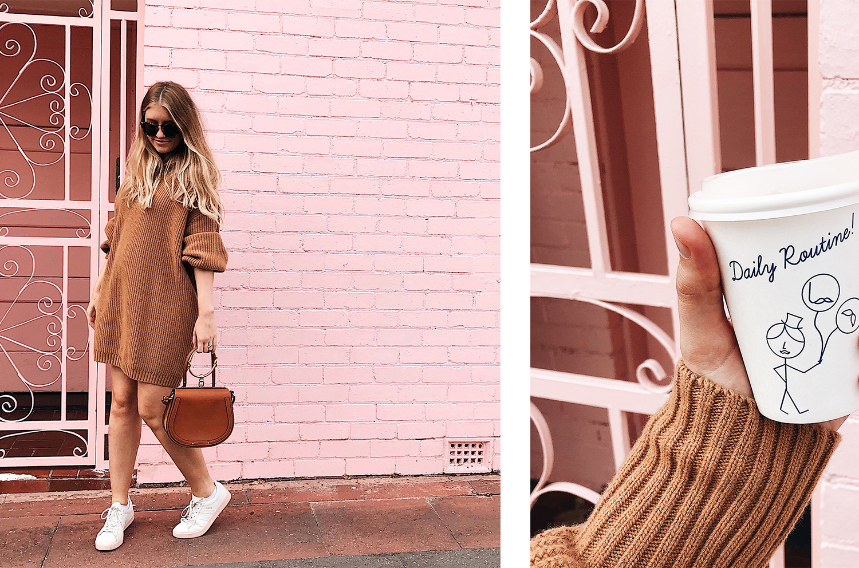 wearing: H&M knit dress, Chloe 'Nile' Handbag, Karen Walker 'Harvest' Sunglasses, Adidas Campus sneakers