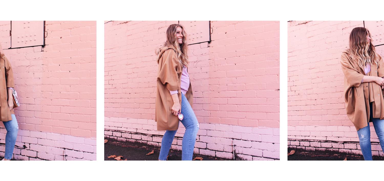 wearing: COS oversized coat, Mavi Reina Ankle Maternity jeans, Love Stories Jumper, Karen Walker 'Lunar Flowerpatch' Sunglasses, Lacoste sneakers