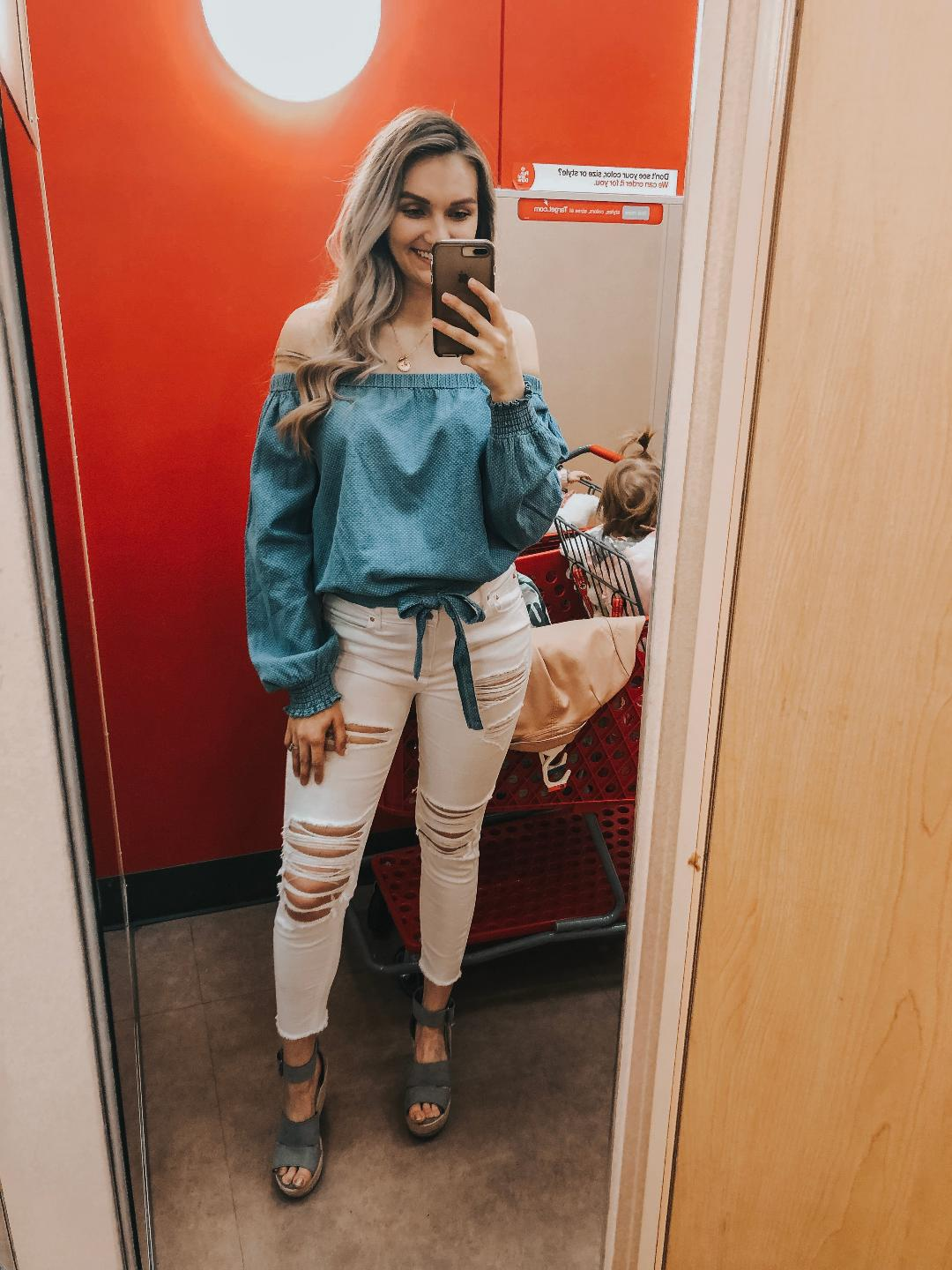 Chambray Top  (TTS-slightly big. Wearing Medium)   White Distressed Jeans  (Hard to say on sizing since I'm pregnant. I recommend trying on in store to find right fit)   Grey Wedges  (Run large- I recommend sizing down .5-1 whole size)   Necklace  (an anniversary present from my husband. I seriously love it so much.)