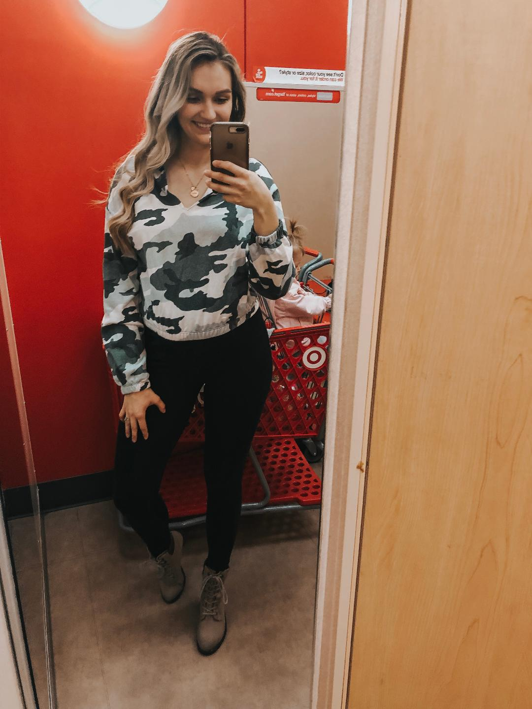 Camo Long sleeve  (TTS or slightly small, wearing large)   Maternity leggings  (Run big- wearing small)   Shoes  (sold out, but linked a very similar style for y'all)   NECKLACE  (AN ANNIVERSARY PRESENT FROM MY HUSBAND. I SERIOUSLY LOVE IT SO MUCH.)