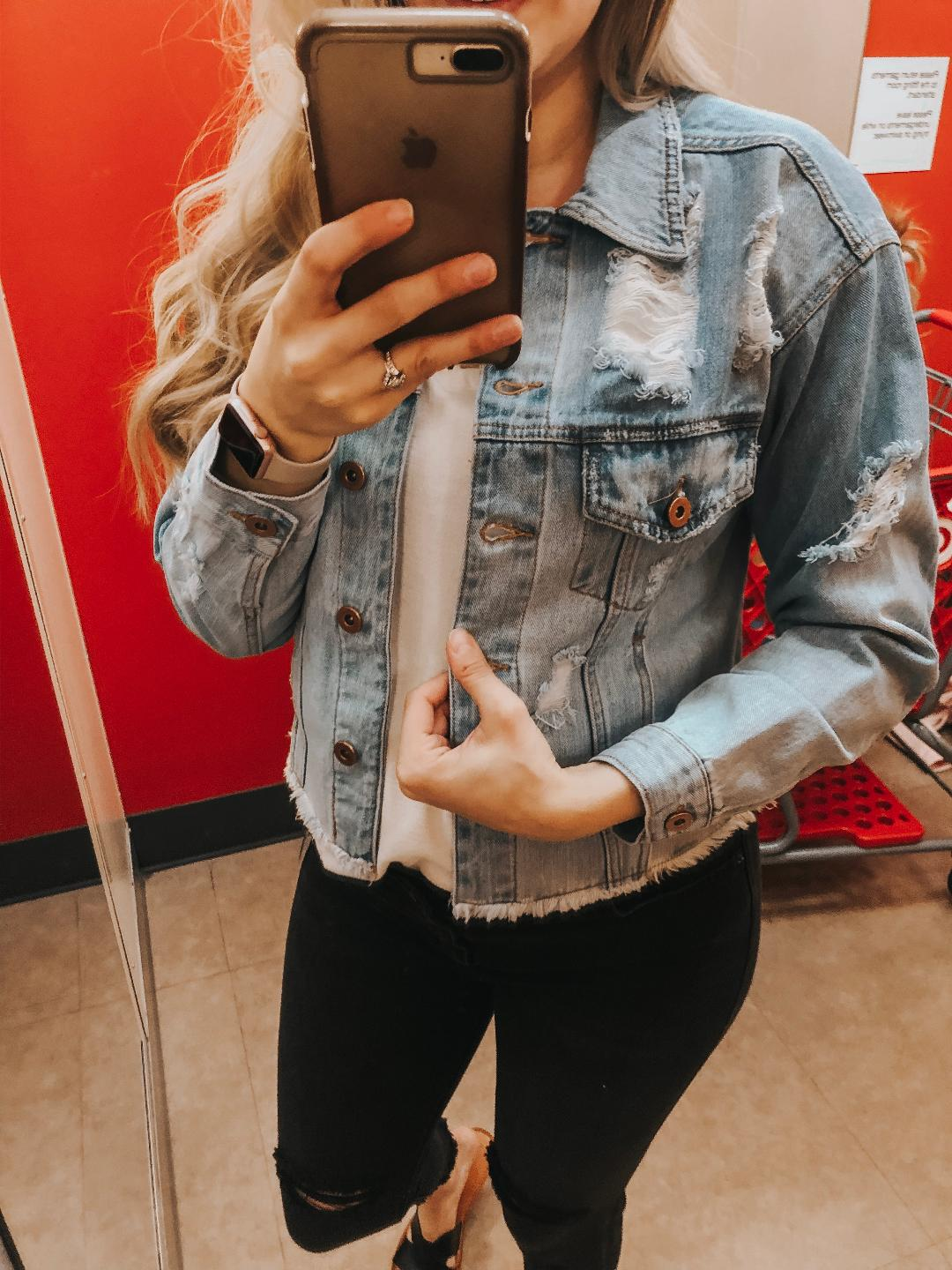 Distressed Denim Jacket-  Runs bigger, wearing size small.   White Ruffle Sleeve Tee - TTS, wearing medium.   Black Denim-  Again, I can't judge on sizing for these due to the bump.   Black Sandals-  TTS