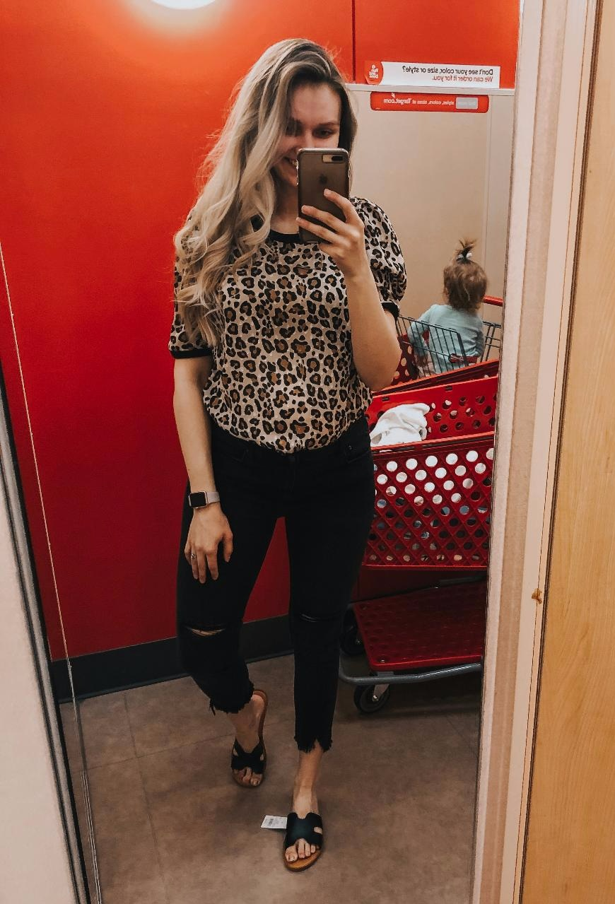 Leopard Top-  TTS, wearing medium.   Black Denim-  I can't judge on sizing for these due to the bump.   Black Sandals-  TTS