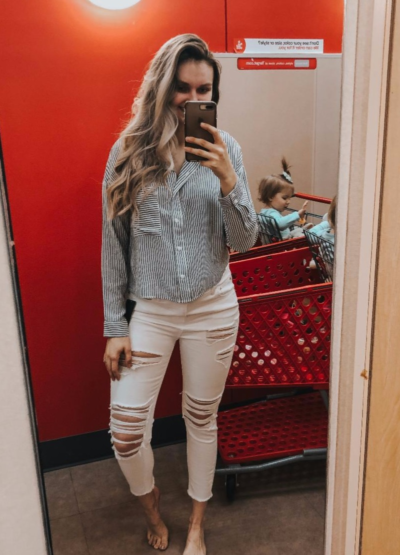 Blue/White Top-  TTS, wearing medium.   White Distressed Denim-  I can't judge on sizing for these due to the bump.