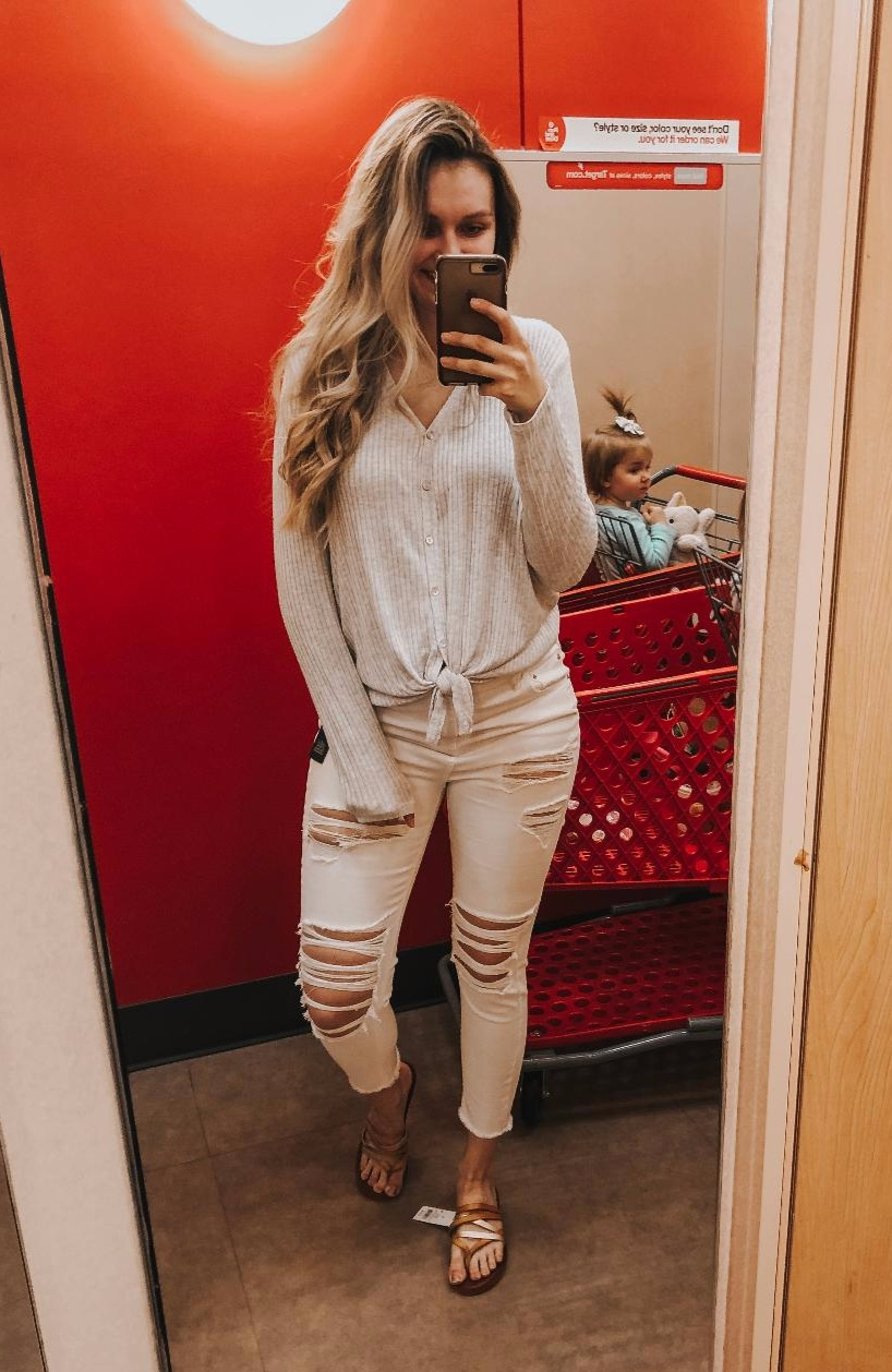 Grey Thermal Top-  I'd size up in this if you want a cozy fit. Wearing an XL because it's all my store had.   White Distressed Denim-  I can't judge on sizing for these due to the bump.   Strappy Sandals-  TTS