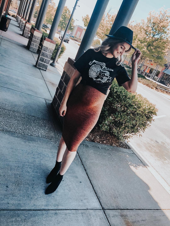 Hat    Johnny Cash Tee - Size up, wearing XL.   Skirt - TTS, wearing medium.   Booties - TTS